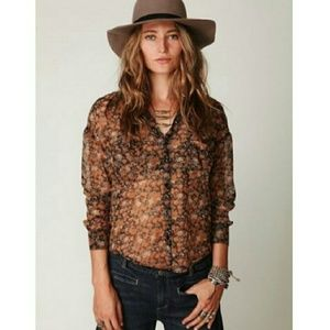 Free People Easy Rider Floral Chiffon Button Down